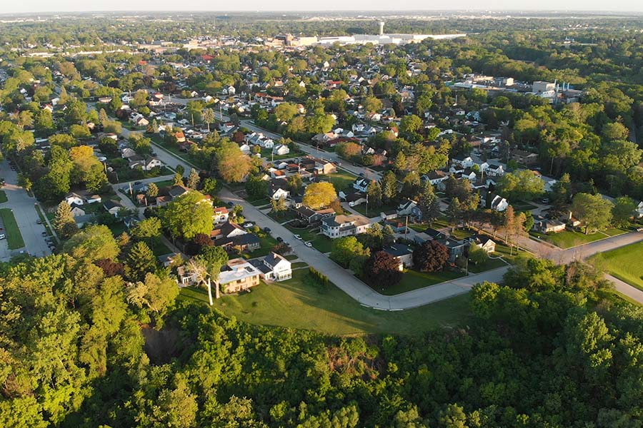 Illinois - Aerial View Of Small City In Illinois